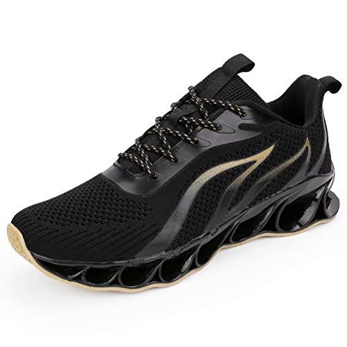 Zapatos para Correr Hombre Transpirables Cómoda Casual Zapatillas de Deporte Antideslizante Outdoor Gimnasio Sneakers Negro-Dorado 40
