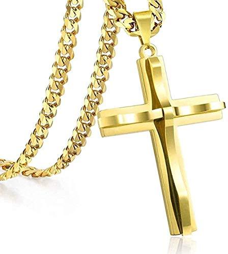 Yiffshunl Collar de Cadena de Hombre con Colgante de Cruz Curvada, Collar de Acero Inoxidable con eslabones cubanos, Color Negro, Dorado, Plateado, 18-36 Pulgadas