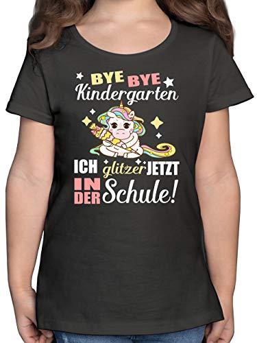Einschulung und Schulanfang - Ich Glitzer jetzt in der Schule Einhorn mit Schultüte - 128 (7/8 Jahre) - Anthrazit - mädchen Einschulung - F131K - Mädchen Kinder T-Shirt