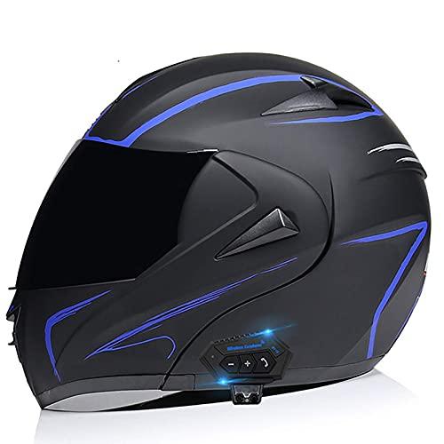 XYXZ Cascos Integrales De Motocicleta Casco De Motocicleta Modular Abatible Integrado, Casco De Motocicleta Bluetooth Cascos Integrales, Casco De Protección con Visera Solar Doble Casco Abat
