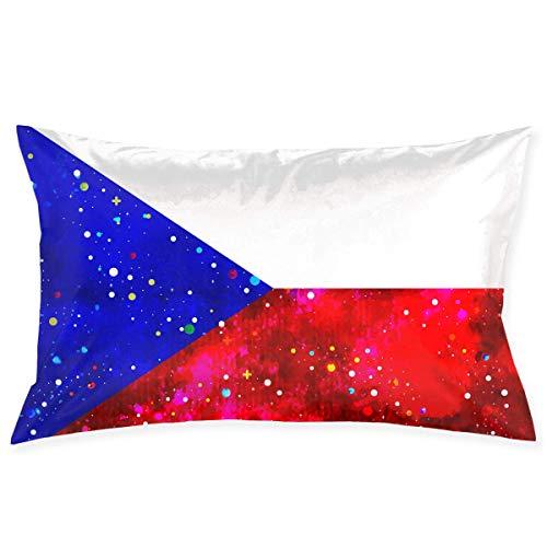 U Shape Kissenbezug Tschechische Republik Flagge Sternenflagge Dekorativer Kissenbezug Weicher und Gemütlicher Überwurfkissenbezug mit Verstecktem Reißverschluss 20X30 Zoll