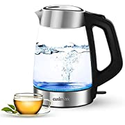 Cusimax Glass Electric Kettle 1.7L, Water Kettle with Strix Thermostat Control, Tea Kettle - LED Illumination, 1500W Electric Glass & Stainless Kettle, Cordless