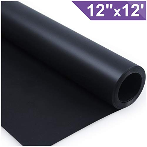 ARHIKY Heat Transfer Vinyl HTV for T-Shirts 12 Inches by 12 Feet Rolls (Black)