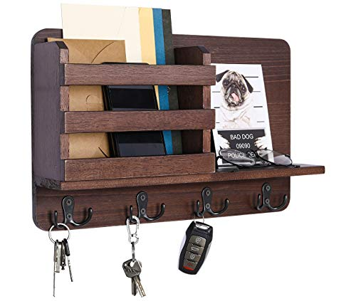 PAG Hanging Mail Organizer Entryway Wood Floating Shelf Accessories Storage Holder Rack with 4 Double Hooks, Brown