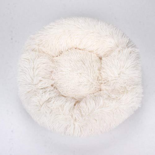Polonia Cuello de Mascota Engrosado Nido de Perro aterrizado hogar Dormitorio Sala de Estar Atadura Circular-Blanco 40 * 40 cm