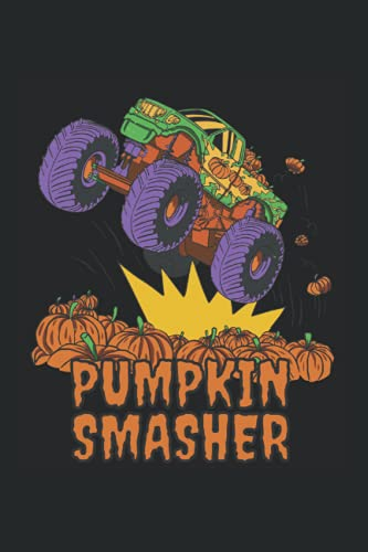 Pumpkins Smasher: Monster Truck Halloween Kinder Jungen Notizbuch Notizheft Schulheft 6 x 9 Zoll Gepunktet Geschenk