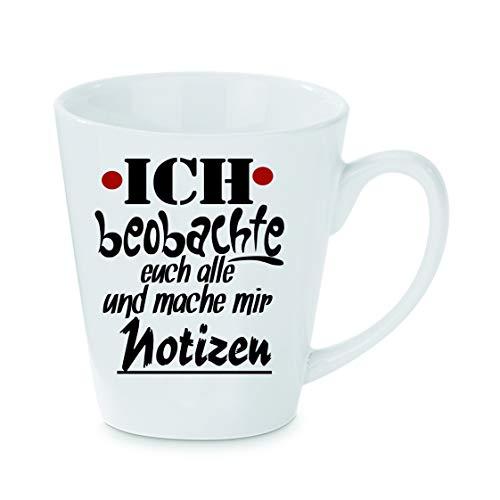 Crealuxe Konische koffiemok Ik hou je en maak notities - koffiemok, beker met motief, bedrukte latte of cappuccinokopje, ook indualiseerbaar.