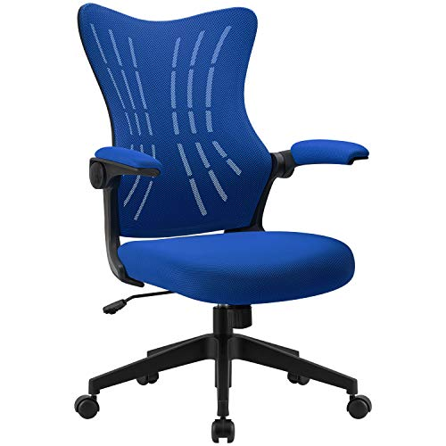Furmax Office Desk Chair with Flip Arms,Mid Back Mesh Computer Chair Swivel Task Chair with Ergonomic with Lumbar Support (Blue)