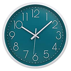 MOD CLOX Modern Wall Clock Non-Ticking Sweep Movement Battery Operated Clocks Decorative Living Room/Bedroom/Office/Kitchen 12 Inch Dark Blue