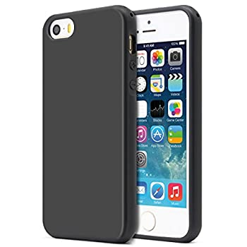 MUNDULEA Compatible iPhone SE 2016 Edition /iPhone 5/iPhone 5s Case,Shockproof TPU Ptotective Cover Compatible iPhone 5s Black