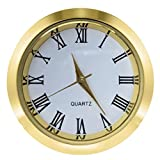 Mini Clock Insert 1 7/16 inch (37 mm) Round Quartz Movement Miniature Clock White Face Gold Tone Bezel Roman Numerals Fit 35 mm Diameter Hole