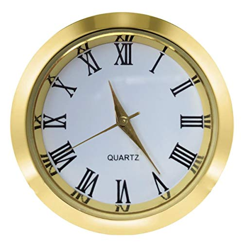 Mini Clock Insert 1 7/16 inch (37 mm) Round Quartz Movement Miniature Clock White Dial Tone Bezel Roman Numerals Fit 35 mm Diameter Hole (Gold)