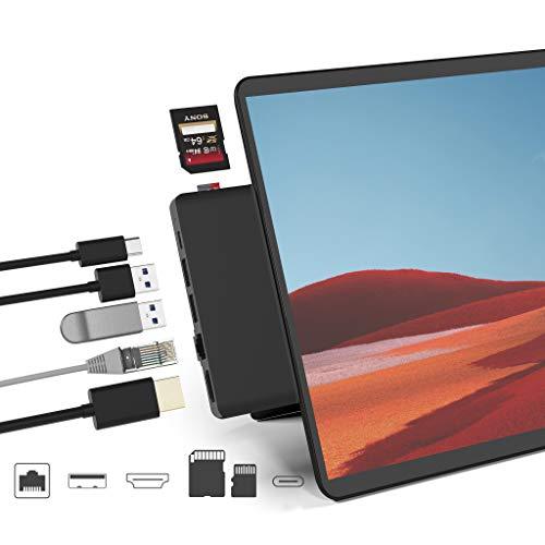 Surface Pro X USB Hub Docking Station, 7-in-2 USB C Hub Dock Konverteradapter mit 4K HDMI, 1000 Mbps Gigabit Ethernet LAN, Type C Port, 2 USB 3.0, SD/TF Kartenleser für Microsoft Surface Pro X
