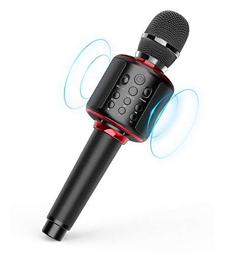 Karaoke Mikrofon, Bluetooth Karaoke Mikrofon zum Singen/Abspielen von Musik/Aufnahme, Kompatibel mit Android IOS PC (Schwarz Rot)