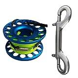 D DOLITY Premium Aluminium Mini Reel Fingerreel mit Edelstahl-Doppelkarabiner Zum Tauchen Schnocheln Unterwasser Sport -