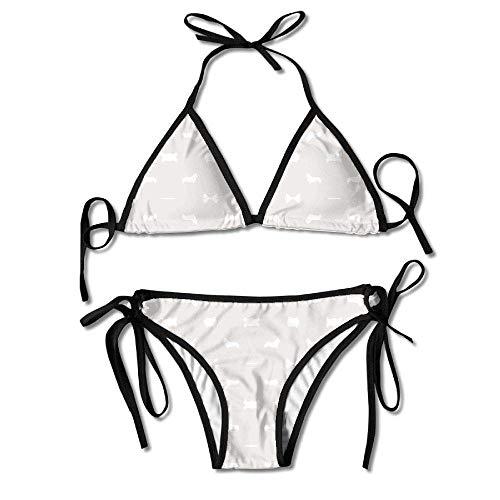 huatongxin Womens Sexy Bikini Sets Badeanzüge Binden Zurück Ardenia Silhouette Hund Stoff Netter Hund Desi Blumendruck Schwarz
