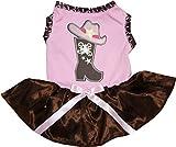 Petitebella Cowgirl Boot Hat Puppy Dog Dress (Pink, Medium)