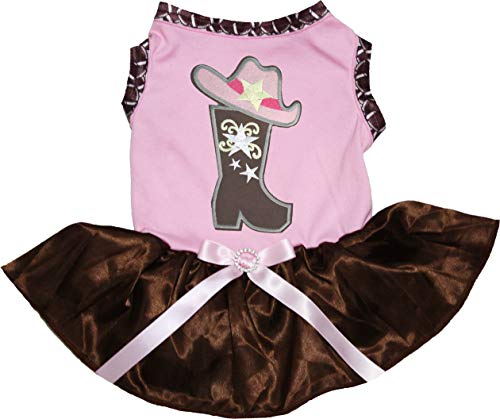 Petitebelle Cowgirl Boot Hoed Wit Shirt Bruin Tutu Puppy Hond Jurk, Large, roze