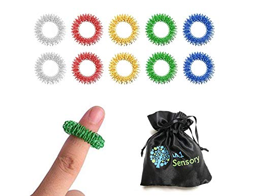 bA1 Sensory - Spiky Acupressure Massage Finger Ring Set (Pack of 10) Handheld Fidget Toy for Kids Teens & Adults - Silent Stress Reducer & Massager - Aids with Focus ADD ADHD OCD & Autism