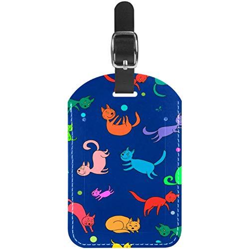 Etiquetas de equipaje de dibujos animados divertidos gatos de cuero para maleta de viaje, 1 paquete