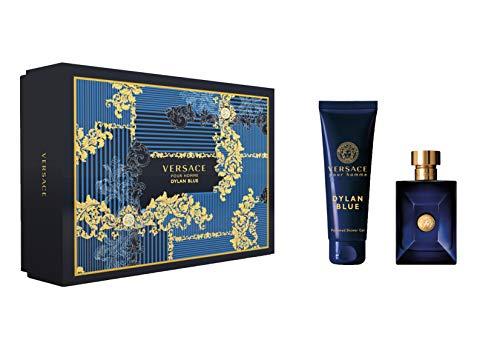 Versace Dylan Blue for Men 2 Pieces Hard Box Set (3.4 Ounce Eau De Toilette Spray / 5.0 Perfumed Body &Shower Gel)
