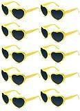 FSMILING Lot de 10 Lunettes de Soleil en Forme de Coeur de Couleurs Néon pour Femmes Enfants Faveurs Cadeaux et Fêtes (jaune)