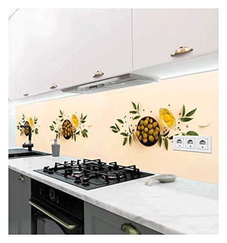 MyMaxxi   selbstklebende Küchenrückwand Folie ohne bohren   Aufkleber Motiv Oliven Schale   60cm hoch   adhesive kitchen wall design   Wandtattoo Wandbild Küche   Wand-Deko   Wandgestaltung