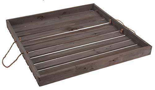 Meinposten. Dekotablett Holztablett Tablett Holz Landhaus Tischdeko grau 40x40 oder 50x50 cm (Tablett 50x50 cm)