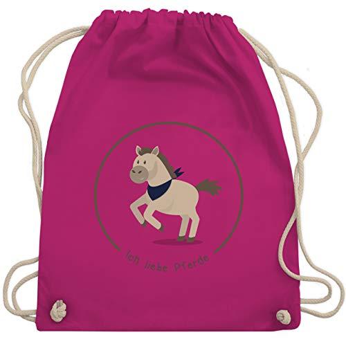 Shirtracer Tiermotive Kind - Ich liebe Pferde - Unisize - Fuchsia - turnbeutel mädchen kindergarten - WM110 - Turnbeutel und Stoffbeutel aus Baumwolle