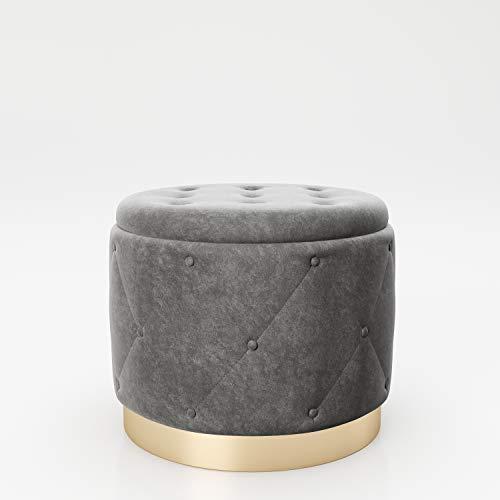 PLAYBOY cm 677204AZ zitzak met opbergruimte, voet van verguld metaal, antraciet, 50 x 40 x 50 cm