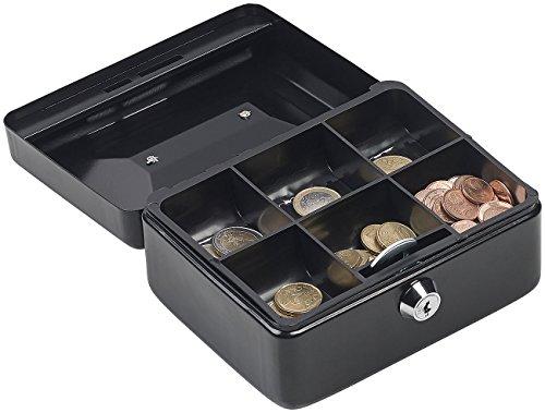 Xcase Caja de monedas: Caja de efectivo de acero, Inserto de monedas con 6 compartimentos, Bloquear, 2 llaves (Caja de dinero)