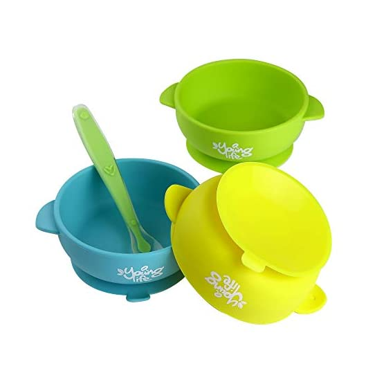 Silicone Baby Bowls (Pack of 3) & 1 Soft Spoon for Toddlers, Infants 6 Months Old Babies – Spill Proof Self Training…