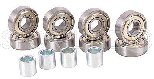 ABEC-7 CARBON Kugellager Ball Bearings Inline 8 St + Buchsen 4 St. HUZZ