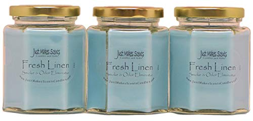Just Makes Scents Candles & Gifts 3 Pack - Fresh Linen Scented Smoke & Odor Eliminator Candle