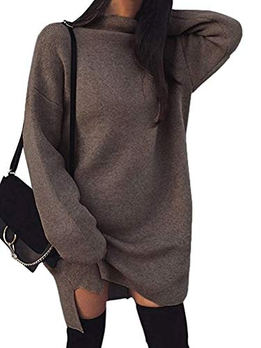 Minetom Damen Pullover Kleider Mode Minikleid Winterkleider Strickkleider Langarm Warm Oversize Stricksweat Strickpullover Lose Sweatkleid Braun DE 46