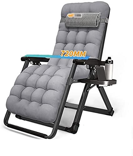 Tumbona Plegable, Silla plegable portátil de la tumbona con el reposacabezas, balcón Silla de salón individual, cama de almuerzo de oficina, silla de playa de camping al aire libre, almohadilla de alg