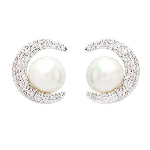 S925 Sterling zilveren parel oorbellen Temperament eenvoudige persoonlijkheid wilde maan diamant kleine oorbellen vrouw, Thumby