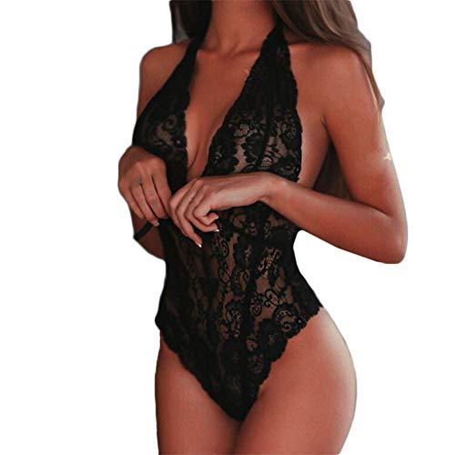 EUCoo Dessous Sexy Femme Erotique,Mode Sexy Dentelle Vêtements De Nuit Lingerie Tentation Babydoll sous-Vêtements Combinaison Lingerie Sexy Femme(Noir,3XL)