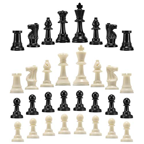 Yosoo Health Gear Juego de Piezas de ajedrez Reemplazo de Piezas de ajedrez, Piezas de ajedrez de 32 Piezas Solamente, Piezas de ajedrez estándar(Medium-64mm)