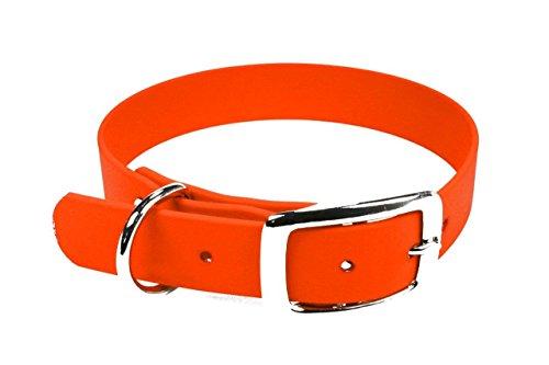 LENNIE BioThane Halsband, Dornschnalle, 25 mm breit, Größe 38-46 cm, Neon-Orange, Aufdruck möglich