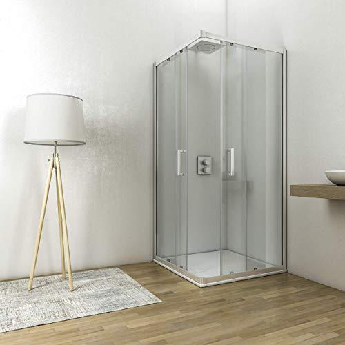 Box doccia angolare cabina con ante scorrelovi cristallo temperato anticalare 6 mm altezza 195 cm (90x90)
