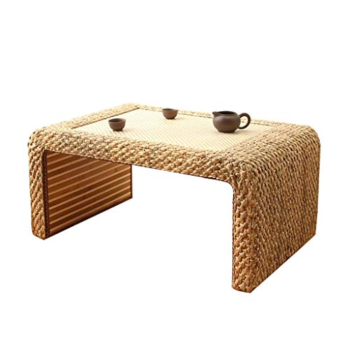 Tables basses Meubles Bois Table en rotin Salon Solide en Bois Balcon Baie vitrée Chambre à Coucher lit Bureau d'ordinateur Tables (Color : Wood, Size : 60 * 45 * 30cm)