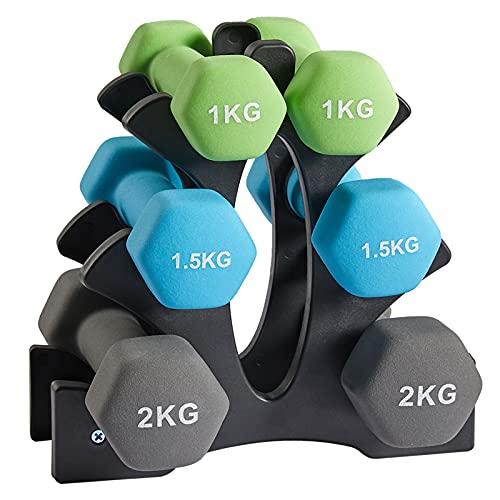 AMGYM Juego de 6 Mancuernas Pesas de Neopreno con 2 x 1 kg, 2 x 1.5 kg, 2 x 2 kg, Fitness Mancuernas con Soporte para Entrenamiento de Fuerza Gimnasio en casa