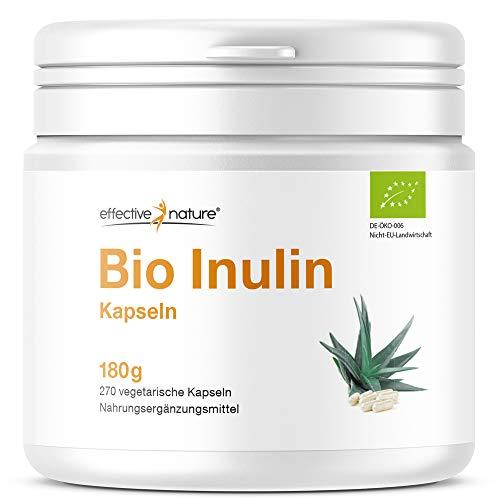 effective nature Bio Inulin | Zur Stimulierung von Darmbakterien | Hochdosiertes, 100% reines Inulin in Bio-Qualität | klassischer Begleiter einer Darmkur, Darmreinigung & Darmsanierung | 270 Kapseln