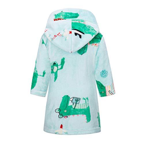 Taigood niños/niñas Albornoces niño niños con Capucha Batas Felpa Suave Pijamas, Franela Ropa de Dormir para bebé cocodrilo Verde