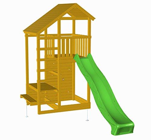 | MASGAMES | Parque infantil MASGAMES TEIDE XL | Altura plataforma 150 cm | Rampa de tobogán con conector a manguera | Pared de escalada | Anclajes incluidos | Homologado para uso doméstico |