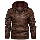 QQSA Men's Casual Pu Leather Hoodie Jacket Leather Jacket Mens Slim Fit Men's Faux Leather Jacket With Removable Hood (M, Brown)