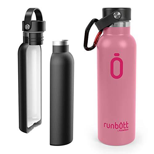 PracticDomus Runbott Botella Agua Térmica 600 ml en Acero Inoxidable sin BPA con Recubrimiento Interno Cerámico y Doble Capa con Vacío. Sin Sabor Metálico. Incluye Mosquetón. Color Rosa