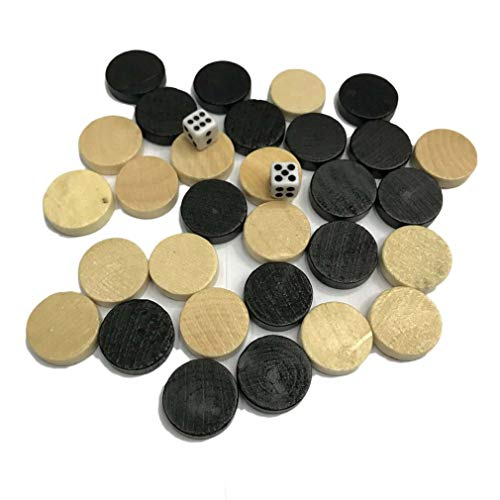 RHNE Natural Wooden Chess Draughts & Checkers & Backgammon Chess Piece for Kids Board Game Learning Camping Wood & Black