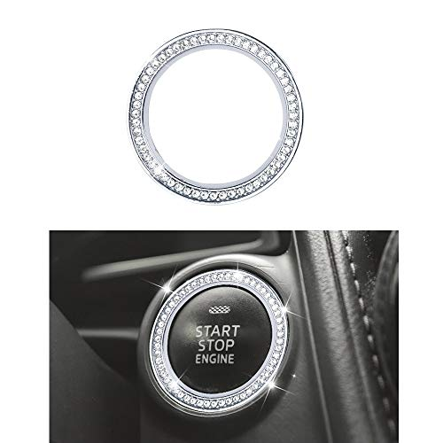 1797 Compatible Ignition Engine Start Stop Button Ring Caps Decals Stickers for Mazda Accessories Parts 3 6 CX3 CX5 CX9 MX5 Miata Covers Interior Inside Decorations Trim Women Men Crystal Silver